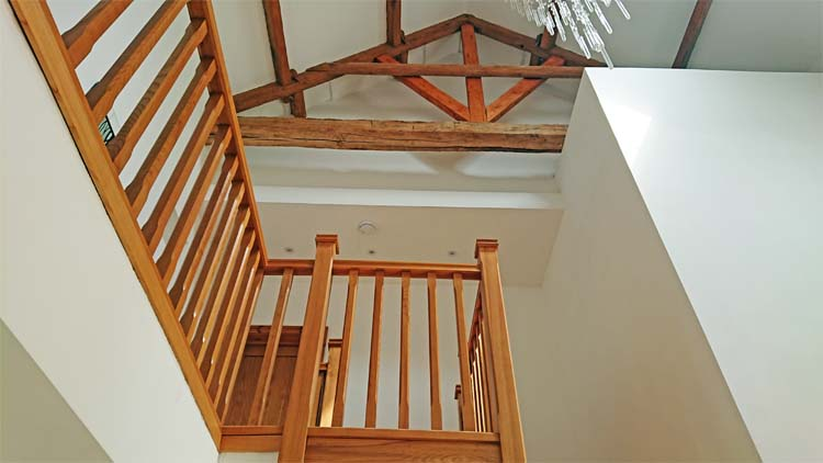 Staircase following completion of the barn conversion.